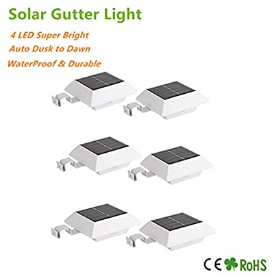 HowFine Solar Powered Outdoor Roof Gutter Fence Deck Light, 4 LED Waterproof Wireless Wall Security Lamp for Patio Lawn Garden Yard Pathway Walkway