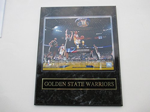 STEPHEN CURRY GOLDEN STATE WARRIORS HANGS IN THE AIR PHOTO & BLACK AND GOLD NAMEPLATE MOUNTED ON A 12' X 15' BLACK MARBLE PLAQUE