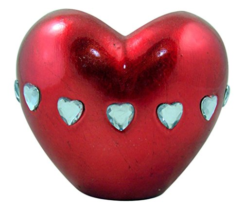 Metallic Red Puff Heart Shape Resin Vase with Rhinestone Accent, 4 3/4 Inch ()