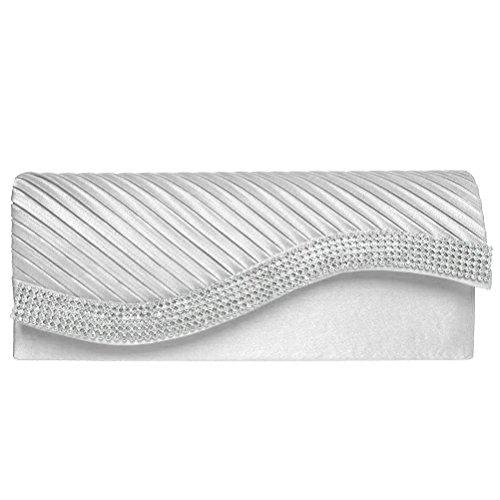 Evening Clutch, Fashion Road Pleated Envelope Clutch Purse, Rhinestone Bridal Clutch Purse For Wedding And Party Silver
