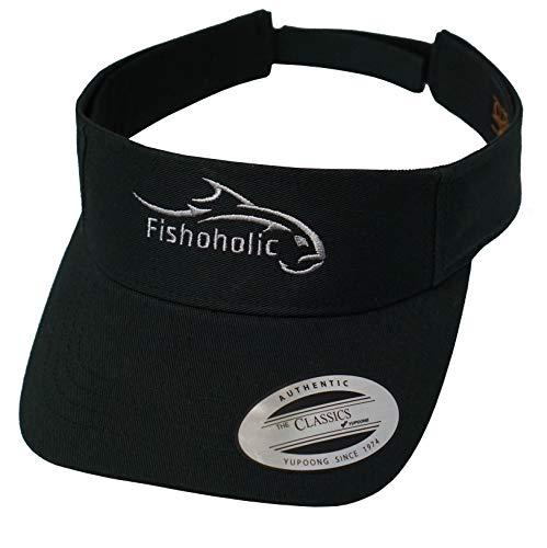 Fishoholic Flexfit Visor Black w Silver Logo for Women or Men Fishing Golfing Tennis Running Jogging Hiking Walking or Relaxing at Beach Lake River Ocean or Baseball Ballpark ()