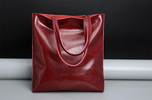 Bolso Manera Múltiples Gran Cuero Bolsillos Aceitosa De Mujeres Rojo Sencilla Las De Color Llxym De Totalizador De Capacidad Kw81xSqBR1