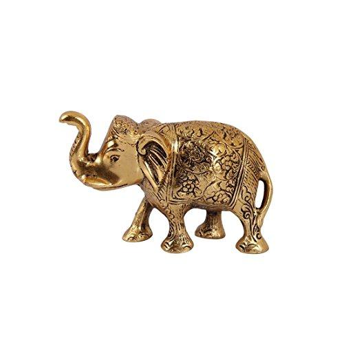 - HANDICRAFTS PARADISE Metal Elephant Trunk Up Antique Golden Finish Carved