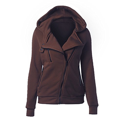 sleeve Big Hat Zipper M size Solid Coffee DYF COAT Pocket Coat Color Women FYM Long Color nvxqSgTnF
