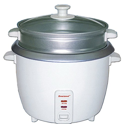Brentwood TS-700S 4-Cup Rice Cooker Non-Stick +Steamer Attachment - White Home & Garden