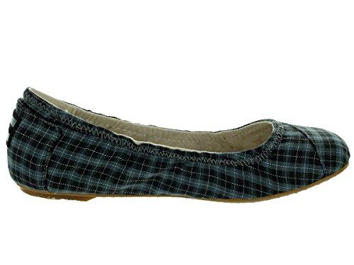 Toms Womens Ballet Flat Casual Shoe Black Grey P6Noe
