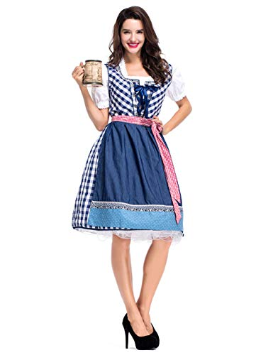 GRACIN Womens German Dirndl Dress, 3-Piece Bavarian Oktoberfest Costumes Halloween Carnival (Small, Blue)