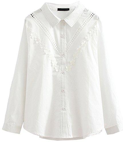 HOOBEE LINEN Women's Long Sleeve Solid Flower Decorated Shirt Top from HOOBEE LINEN