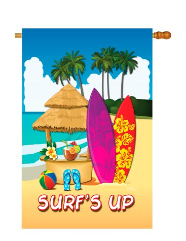 Breeze Decor – Surf's Up Hut Summer – Seasonal Fun In The Sun Impressions Decorative Vertical House Flag 28″ x 40″ Printed In USA For Sale