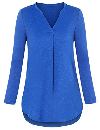 Ladies Tops for Leggings, Messic Women V Neck Comfy Shirts Casual Flowy Fitted Solid Color Long Sleeve Work Tunic Blouse(X-Large,Blue)