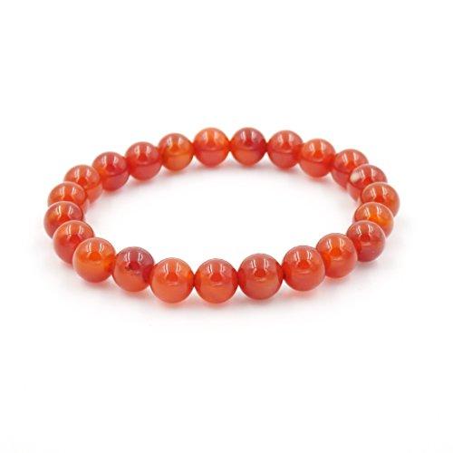 Malahill Semirecious Gemstone Healing Balance Stretch Bracelets, Natural A Grade (Red Carnelian -