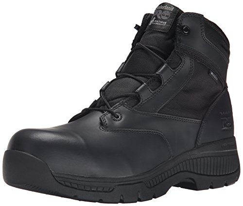 Timberland PRO Men's 6 Inch Valor Comp Toe Waterproof Side Zip Work Boot, Black Smooth Leather Ballistic Nylon, 10.5 W US