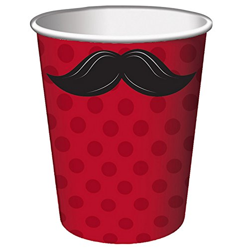 Creative Party Moustache Madness Cups (Pack of 8) (One Size) (Red/Black)