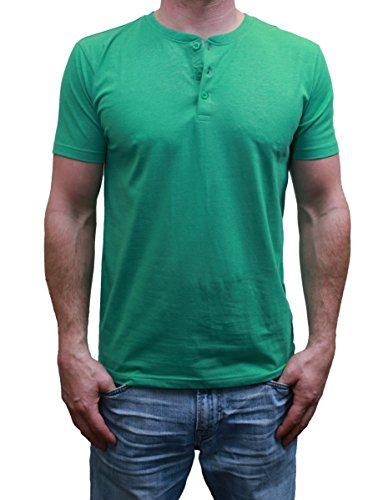 Henley Mens  Short Sleeve TShirt with 3 Buttons, Kelly Green, Medium by MTL Apparel