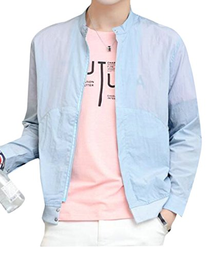 BYWX Mens Thin Business Stand Collar Outwears Jackets Coats Two US M