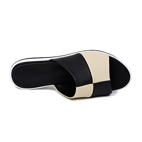 Allhqfashion Damesschoenen-hakken Zacht Materiaal Geassorteerde Kleur Open Sandalen Met Open Neus Zwart