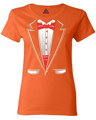 Shop4Ever Tuxedo Costume Women's T-Shirt Funny Shirts X-Large Orange 0