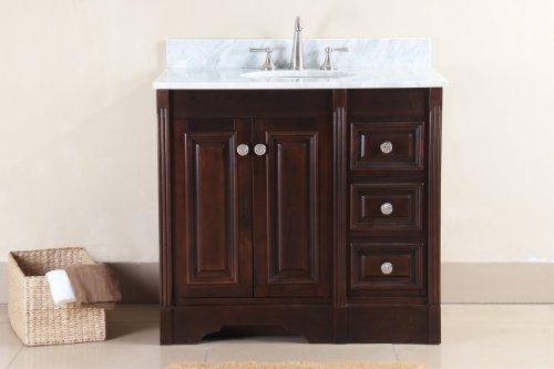 (Virtu USA RS-10536-WM-DW 37-Inch Austen Italian Carrara Marble Single Sink Bathroom Vanity, Dark Walnut)