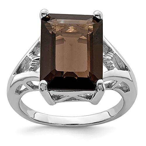 (925 Sterling Silver Smoky Quartz Band Ring Size 8.00 Stone Gemstone Fine Jewelry Gifts For Women For Her)