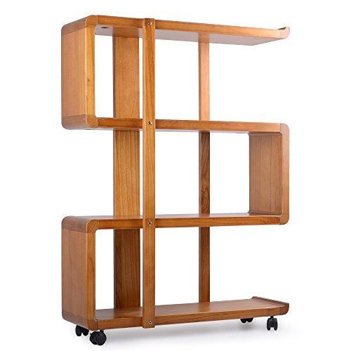 Kendal 4 Tiers Dismountable Wood Bookshelf Rack Organizer with Lockable Casters WBS01AK by Kendal