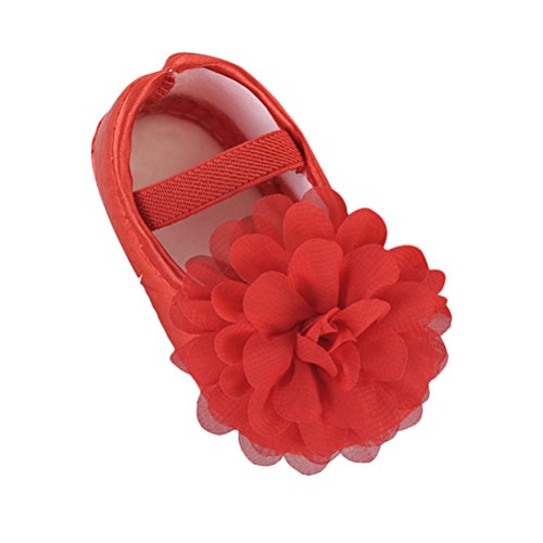 Zhhlinyuan Cute Girls Bebé Soft Sole Shoes Toddler Silk Crib Shoes Princess shoes Red&Floral