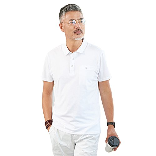 (habille) メンズ シンプル ポロシャツ 白 シャツ 半袖 父の日 プレゼント ポケット ゴルフ ウェア 大きいサイズ 3l おまけ付(3カラー)