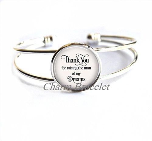 Charm Bracelet, Fashion Bracelet, Dainty Bracelet, Simple Bracelet,Thank You for raising the man of my Dreams Bracelet, gift for mother-in-law, gift for groom's mother, Mother's Day gift-ZE176 (Thank You Jewelery)