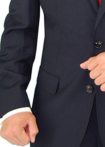 Gino Valentino Men's Two Button Modern Striped Night Navy Suit (38 Regular US / 48 Regular EU) by Gino Valentino (Image #4)