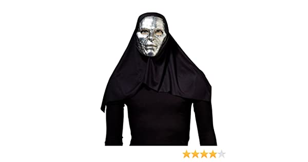 HOOD FOR FANCY DRESS PARTY ACCESSORY SILVER ROBOT MASK