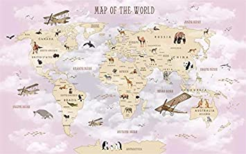 Amazon custom size mural kids room wall 3d photo wallpaper custom size mural kids room wall 3d photo wallpaper cartoon airplane sailing animals world map picture gumiabroncs Gallery