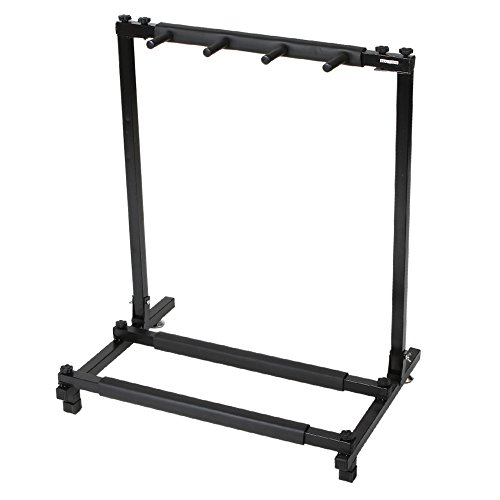 (Kuyal Iron Guitar Stand Multi-Guitar Display Rack Bass Folding Stand Band Stage Bass Acoustic Guitar, Black (3 Holder))