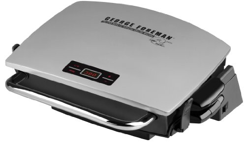 George Foreman GR0072P G-Broil Supreme Electric Nonstick Countertop Grill with Digital Timer, Silver image