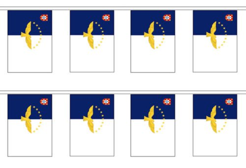 Ant Enterprises Azores Country 12x18 Bunting String Flag Banner (8 Flags) Best Garden Outdor Decor Polyester Material Flag Premium Vivid Color and UV Fade Resistant ()