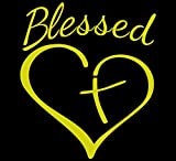 Blessed Cross and Heart Christian Decal Vinyl Sticker|Cars Trucks Vans Walls Laptop |5.5 x 4.5 in| (Yellow)
