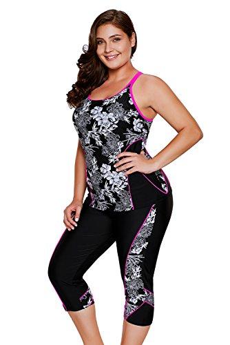 27bc0d20ff9d1 Aleumdr Womens Racerback Color Block Print Tankini Swimsuits with Swim  Capris S-XXXL