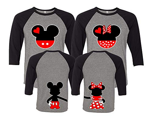 Mickey & Minnie Matching Couple Outfits - Disney Couple Shirts with Holding Hands Gray/Black Women M