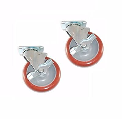 "Set of 2 Colson Swivel Casters 5"" x 1-1/4"" Polyurethane Wheel Side Lock Brake"