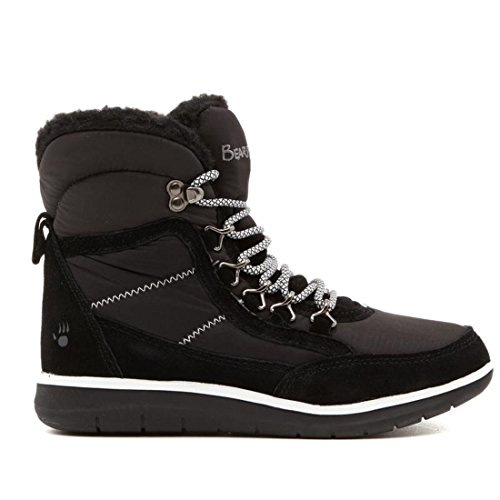 Price comparison product image BEARPAW Ruby Suede Nylon Laced Boot Round Toe NeverWet Black 8M New 585-982