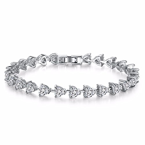 Caperci White Gold Plated Heart Shape Cubic Zirconia Diamond Tennis Bracelet for Women, 7.25
