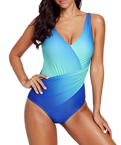 EVALESS Womens Sexy One Piece Strap V Neck Backless Padded Ombre Tie Dye Wrap Front Teddy Swimsuit Large Light Blue