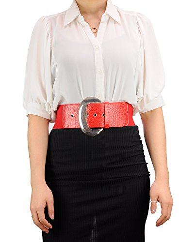 """Fabulous Trendy Women's 3"""" Wide Thick Stretch Belt With Large Metal Buckle 11 Colors EF21 (S/M, Red)"""