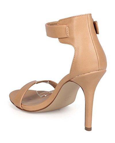 Breckelles Breckelles EB57 Women Leatherette Open Toe Ankle Strap Single Band Stiletto Sandal Natural gRmy9lxrk