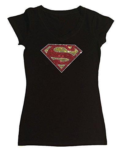 Women's T-Shirt With Superman In Rhinestones (Medium, Black Cap Sleeve)]()