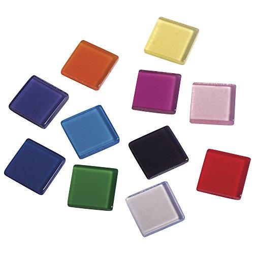 Rayher 14540999 Acryl-Mosaik, 1x1 cm, transparent, SB-Box ca. 205 Stück / 50g, bunt