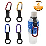 Hongfa 4Pcs Portable Carabiner Water Bottle Drink Buckle Hook Holder Clip Key Chain Ring for Camping Hiking Traveling