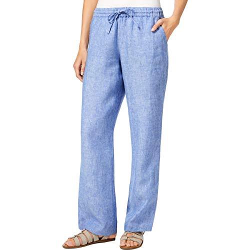 (Charter Club Womens High Rise Drawstring Wide Leg Pants Blue XL)