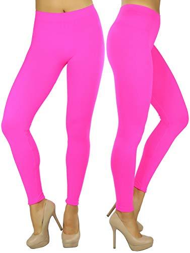 ToBeInStyle Women's Footless Elastic Leggings - One Size - Neon Pink (80s Spandex Leggings)
