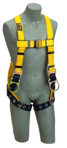 (3M DBI-SALA Delta 1102025 Construction Harness, Back/Side D-Rings, Tongue Buckle Leg Straps, Loops For Belt, Universal, Navy/Yellow)