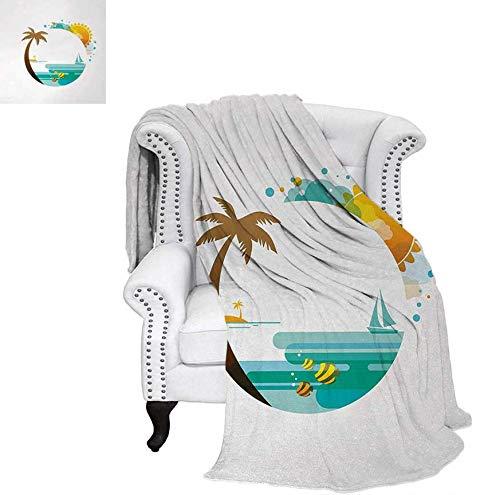 Throw Blanket Tropical Paradise Summer Season Palm Tree Silhouette with Fish and Sun Velvet Plush Throw Blanket 50