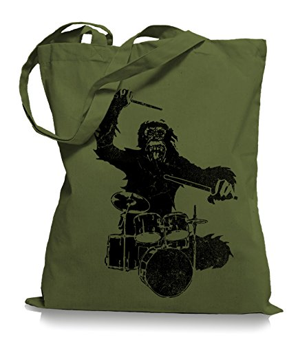 Ma2ca® Gorilla Drummer - Jutebeutel Stoffbeutel Tragetasche / Bag WM101 Olive Green qlAc40Vz